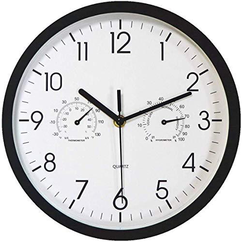 Foxtop Orologio da Parete Nero Moderno da con Display termometro e igrometro, meccanismo Silenzioso AntiGraffio, quadrante Moderno per Bagno/Giardino/Palestra/Cucina/Orologio da Esterno