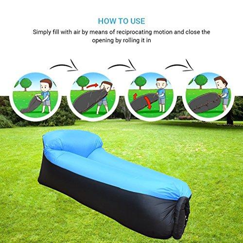 Wasserdichtes Aufblasbares Sofa -Aufblasbares Outdoor Liege Luftsofa Integriertem Kissen, Tragbarer Aufblasbarer Sitzsack, Aufblasbare Couch für Reisen, Camping, Strand, Park, Backyard - 5