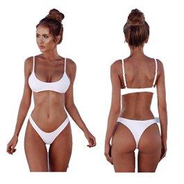 2018 Womens Sexy tinta unita Bikini brasiliano Set-Triangolo perizoma Soft imbottita perdita clivaggio Bikini Set 2 pezzi Costume da bagno