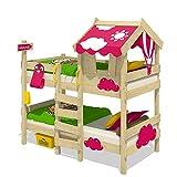 WICKEY Litera CrAzY Daisy Cama infantil Cama alta con techo, ventana, escalera y somier de madera, lona fucsia