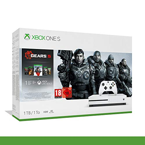 Xbox One S - 1TB Bundle Gears of War 5 - Inclusi Gears of War 2, 3, 4 + 14 Days Live Gold + 1 m...
