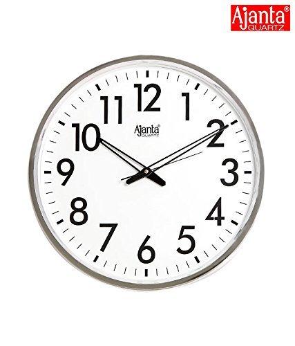 Ajanta Quartz Wall Clock (32 cm x 32 cm x 32 cm, Silver)