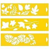 30cm x 8cm (Juego de 3) Stencil Plantilla Plástico Reutilizable para Decoración Pasteles Paredes Tela Muebles Manualidades Arte Artesanía Diseno Gráfico Dibujo Técnico - Hojas de árbol