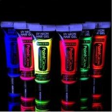 PaintGlow UV Neon Gel Per Capelli Pulizia Out / UV Reattiva / Rave / Festa 10ml - Giallo