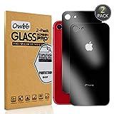 Owbb [2 Pezzi] Nero Posteriore Vetro Temperato Pellicola per iPhone 7 / iPhone 8 Smartphone Full Coverage Protettiva Protezione 9H Durezza