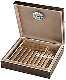 Egoist Premiuem - Zigarren Humidor Box aus Holz mit Hygrometer und Befeuchtungssystem für ca. 20 Zigarren I Zigarren-Zubehör - Braun