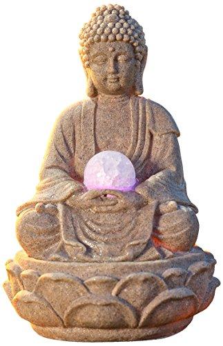 Pajoma 53899,0 Fuentes de Interior, Buda con iluminación LED poliresina, 18 cm 3