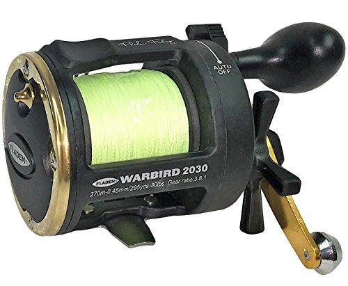 Fladen Warbird 2020-1Cuscinetti a Sfera Sea e traina Mulinello con Livello Vento (Viene con 0.28mm Braid Line-Verde o Oro) a Great all Rounder, Green