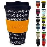Morgenheld ☀ Dein trendiger Bambusbecher | Coffee-to-Go-Becher | Kaffeebecher mit Silikondeckel und Banderole in coolem Design 400 ml Füllmenge (Blacky - sun)