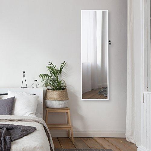 LANGRIA Schmuckschrank Hängender Spiegelschrank mit 10 LED-Leuchten, 5 Regale Aufbewahrung für Schmuck und Kosmetik (Weiß) - 4
