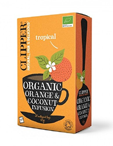 Clipper organic orange and coconut tea (soil association) (infusions) (20 bags) (a fruity tea with aromas of coconut, orange) (brews in 2-5 minutes)