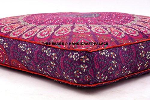 Copricuscino per cuscino da pavimento grande, motivo mandala indiano con piume di pavone, quadrato, per divano, letto, pouf, adatto per meditazione