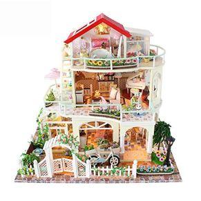 GSC-home Madera casa de muñecas Villa Bricolaje Modelo en Miniatura de Habitaciones Kit de construcción de Madera de…