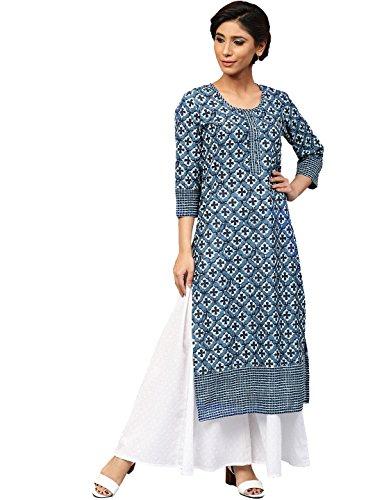 Amayra Women Cotton Blue Printed Straight Kurti(X-Large,Blue)