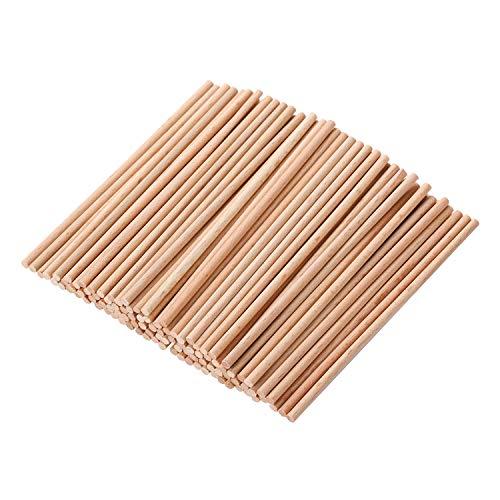 VABNEER Dübelstangen Handwerk Sticks Rund Natur Bastelhölzer Holzstäbchen Bastelholz Für Kinderhandwerksprojekte, Modellbau 100 Stück (100 x 3mm)