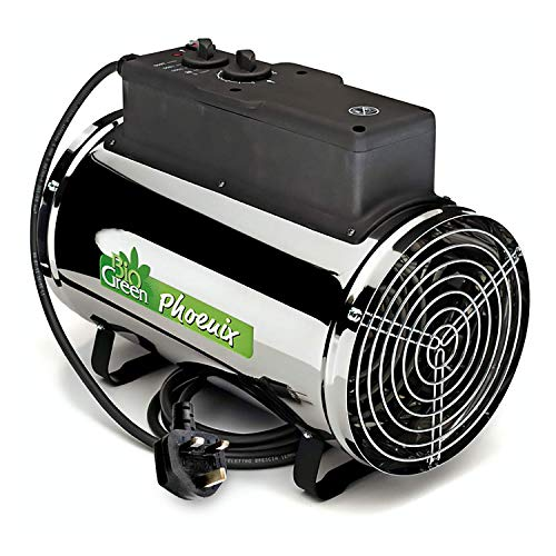 Biogreen PHX 2.8/GB Phoenix Electric Fan Heater. Although an expensive greenhouse heater, the 2.8Kw heater has a thermostat and three heat settings that you can manipulate through the year to keep your greenhouse running and temperatures optimal. It is a strong heater that covers an area of 100ft2 which means it can cater to small or larger greenhouses. If you don't want the fuss of gas/propane heaters, this is the heater to get. It comes with a 3-year warranty backing up that the quality can be trusted and Biogreen have become a big name in the greenhouse heating category.