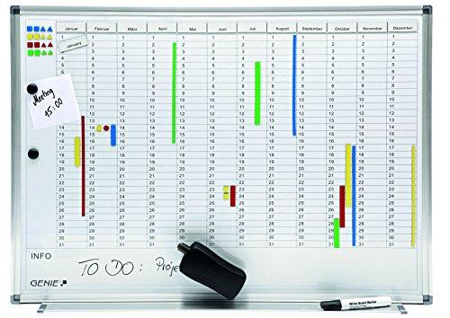Genie AP2000 - Lavagna magnetica scrivibile, con suddivisione mensile e annuale, cornice in...