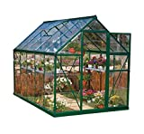 Palram Harmony 6x10 Green Greenhouse - Clear Polycarbonate, Aluminum Frame, Base Included