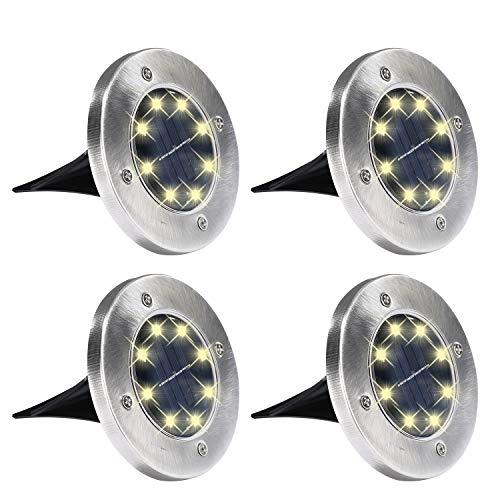 Yizhet 4 pcs Luci solari a terra per esterni lampada da impermeabile 8 LED solare percorso giardino...
