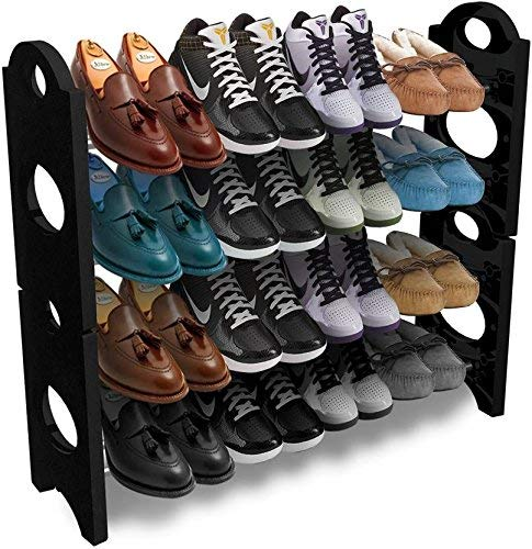 SECONDHOME Shoe Rack Plastic Stand For Home With Four Shelves Metal Frame Plastic Connectors Multipurpose Organiser Portable Foldable Easy To Assemble & Light Weight - Set Of 1