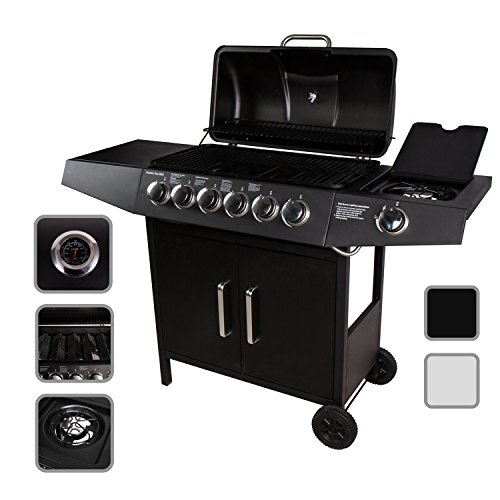 CCLIFE BBQ Barbecue griglia a Gas con 6 bruciatori Principali + 1 bruciatore Laterale, Colore:Nero,...