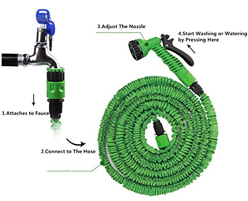 Tallin 15 Meter Flat Hose Water Gun Spray Garden Pet Car Washing Jet Spray Gun Multi Colour