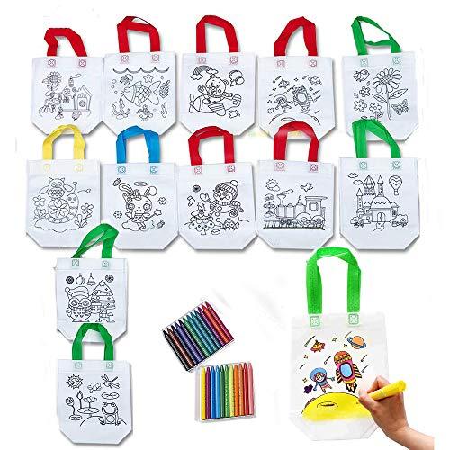 Kit 12 Zaini Sacche da Colorare Bambini + 24 Pastelli Gadget Compleanno Bambini Comunioni Natale