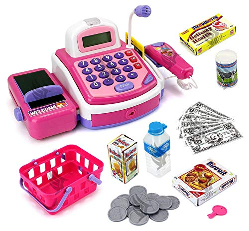 Techhark® My Cash Register Pretend to Play Electronic Cash Register Toy with Actions, Sounds and Working Calculator and Accessories(Pink)