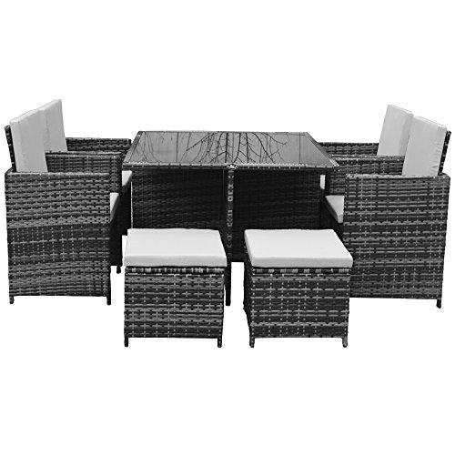 Polyrattan Lounge Gartenmöbel Set Garnitur Sitzgruppe Gartenmöbel SJ08 (Grau) - 2