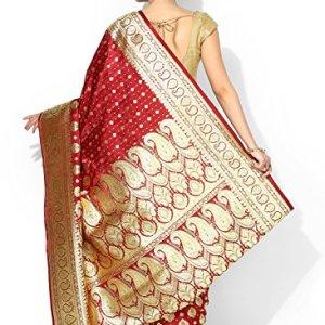 b3d35a041d46e Banarasi Silk Works Silk Satin Saree With Blouse Piece(PTE72 Red Free Size)