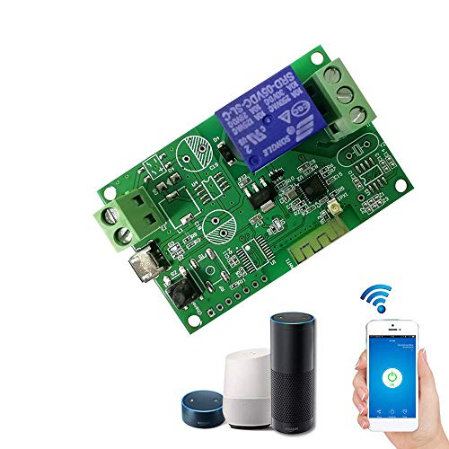 USB DC5V WiFi Switch Wireless Relay Module Smart Home Automation Modules Phone APP Remote Control Timer Switch Alexa Voice Control for Access Control System Inching/Self-Locking (dc7-32v-1ch)