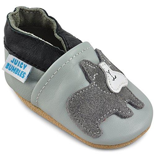 Scarpe Bambini Scarpine Neonato in Morbida Pelle - Bulldog Grigio - 2-3 Anni