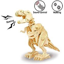 Ruober ROKR Rompecabezas de Dinosaurio de Madera 3D con Control de Sonido Robot Walking Juguetes de Modelo T-Rex para niños o Adultos (Walking T-Rex)