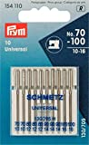 Agujas para máquina de coser estándar de Prym, 154110, 70 - 100, 130/705, 10 agujas para máquina de coser, acero, color plata, 3,0 x 0,3 x 0,3 cm