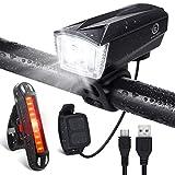 OMERIL Lumière Vélo Rechargeable USB, Lampe Vélo LED Puissante Imperméable IP65 Lumière Arrière 100LM et Lumière Avant 300LM avec Sonnette 120dB Cyclysme VTT, VTC, Bicyclette