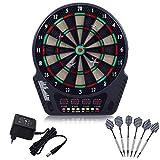 DREAMADE Elektronische Dartscheibe, Dartautomat E-Dartboard, LED Dartspiel Dartboard, E-Dartscheibe, mit 6 Dartpfeile, 27 Spielen Und 243 Varianten für 1-16 Spieler