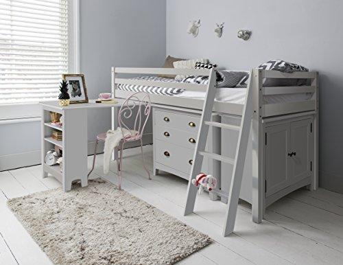 Hochbett Dieses lackierte Bett Einzelbettgestell mit Schreibtisch, Kommode & Schrank Silk Grey