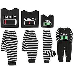 puseky Conjunto de Pijamas de Ropa a Juego de la Familia Ropa de Dormir con Estampado de batería Ropa de Dormir para papá mamá Niños bebé