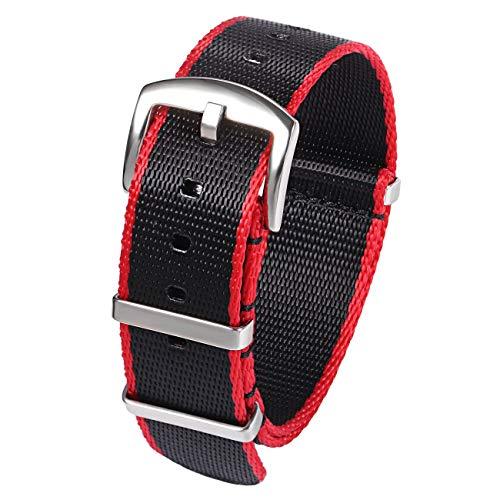 Cinturino Nylon Cinturino in Zulu NATO Heavy Duty Military G10 Cinturino cinturino di 22mm Nero Rosso ricambio per Smartwatch
