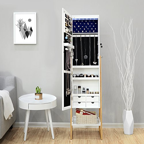 SONGMICS Schmuckschrank mit LED-Beleuchtung, abschließbarer und freistehender Schmuckorganizer, Ganzkörperspiegel, im Skandinavischen Stil, Beine aus Massivholz, weiß&kieferfarben, JBC72WN - 2
