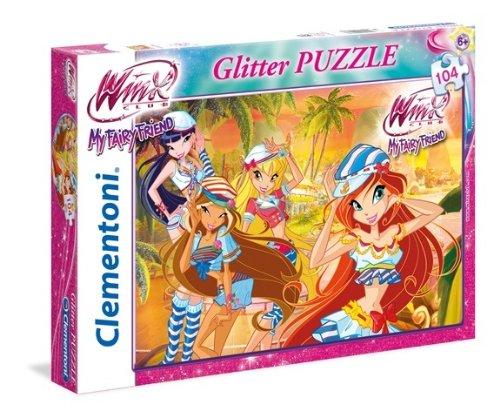 Clementoni 20086 - Glitter Puzzle Winx My Party Friend, 104 Pezzi