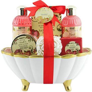 BRUBAKER Cosmetics – Coffret de bain – Pivoine/Vanille – 7 Pièces – Baignoire en Céramique – Coquillage décoratif – Blanc/Doré – Idée cadeau