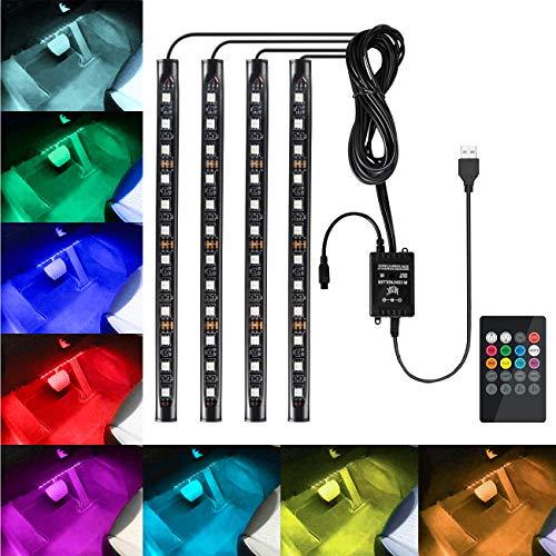 Favoto Luci LED Interne Auto, 4 Strisce 48 Lampadine Multicolore Impermeabili, Kit RGB di Illuminazione e Decorazione per l'Interno di Auto – Alimentato da USB