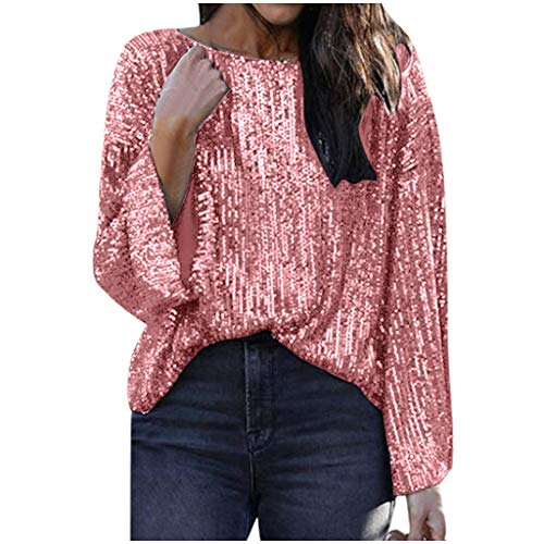 Lavany ❤️ Women Casual Sexy Sequins Top, Womens Fashion Sleeve Blouse Sequined Strappy O Neck Camis Tank Top Crop Shirt Pink