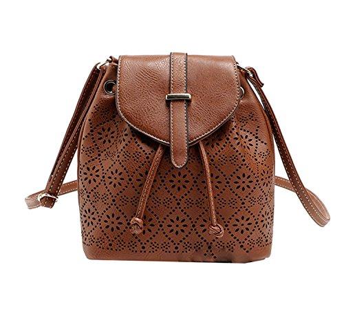 Di Grazia Women's Mini Designer Bucket Shoulder Sling Handbag (Brown, Brown-Hollow-Flap-Bucket-Slingbag)
