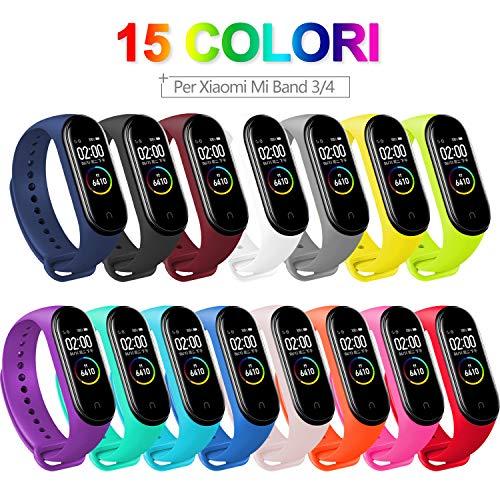 Bangting 15PCS Cinturino Compatibile con Xiaomi Mi Band 3 / 4, Orologio da Braccialetto di Ricambio per Xiaomi Smartwatch Mi Band 4 Bracciale Bracciali Smartband Mi Band 3 Cinturini Silicone Colorati