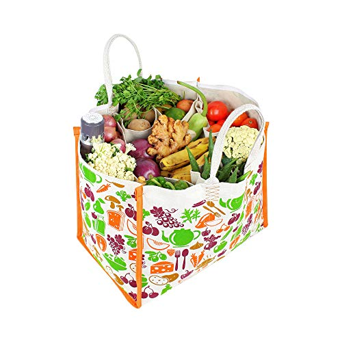 Dussle Dorf Reusable Large Heavy Duty Waterproof Shopping Bags Kitchen Essentials/Grocery Bag/Vegetable Bag/jhola/Carry Bag/thela with Full Handles Best Gift for Christmas