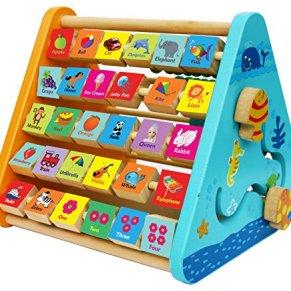 Toys of Wood Oxford Centro de Actividades de Madera-con Bloques de Madera del Alfabeto, Cuentas de ábaco, Reloj de Aprendizaje, Laberinto de Madera y una Pizarra - 5 en 1 Centro de