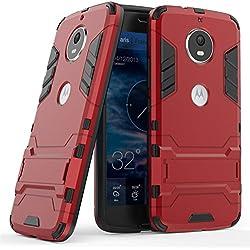 LXHGrowH Funda Moto G5S, Fundas 2in1 Dual Layer Anti-Shock 360° Full Body Protección TPU Silicona Gel Bumper y Duro PC Armadura con Soporte y Desmontable Carcasa para Motorola Moto G5S, Rojo
