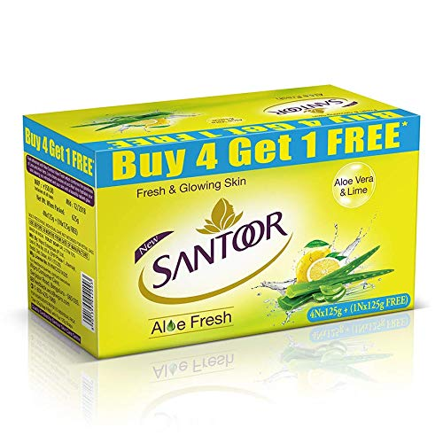 Santoor Aloe Fresh Soap, 125 g (Pack of 5) with Buy 4 Get 1 Free